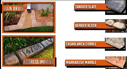 Rain Drain - Address Imprint - Moroccan Natural Stone Curbing Samples